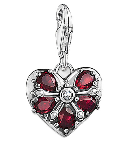 THOMAS SABO Charm Club sterling silver vintage heart charm (Red