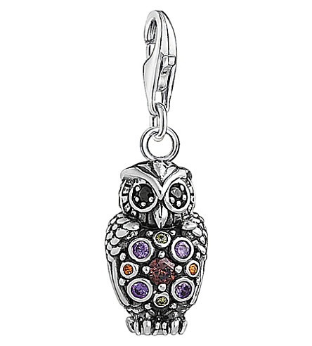 THOMAS SABO Charm Club sterling silver multistone owl charm (Multi+coloured