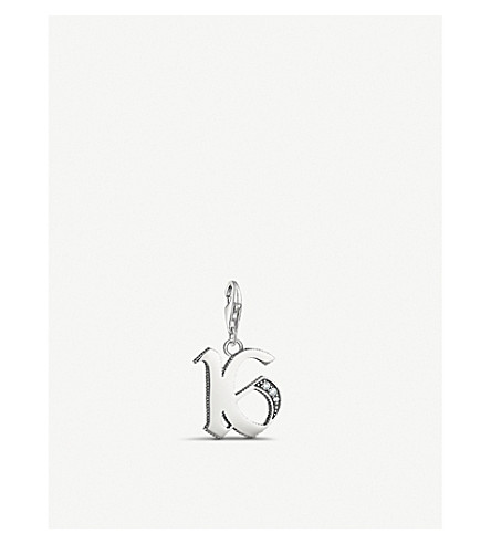 THOMAS SABO Vintage lucky number 16 sterling silver charm