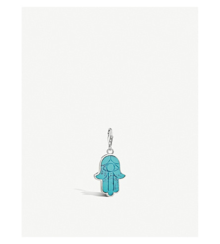 THOMAS SABO Charm Club Hand of Fatima sterling silver and turquoise charm