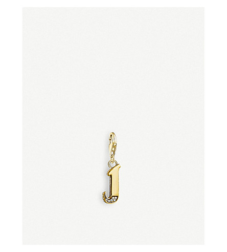 THOMAS SABO Vintage 'J' letter 18ct yellow gold-plated charm