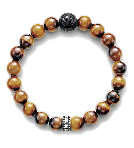 THOMAS SABO Rebel at Heart sterling silver, tiger's eye and obsidian beaded bracelet