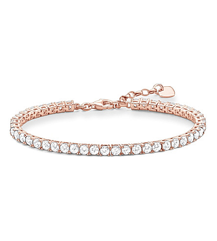 THOMAS SABO Rose gold-plated zirconia tennis bracelet