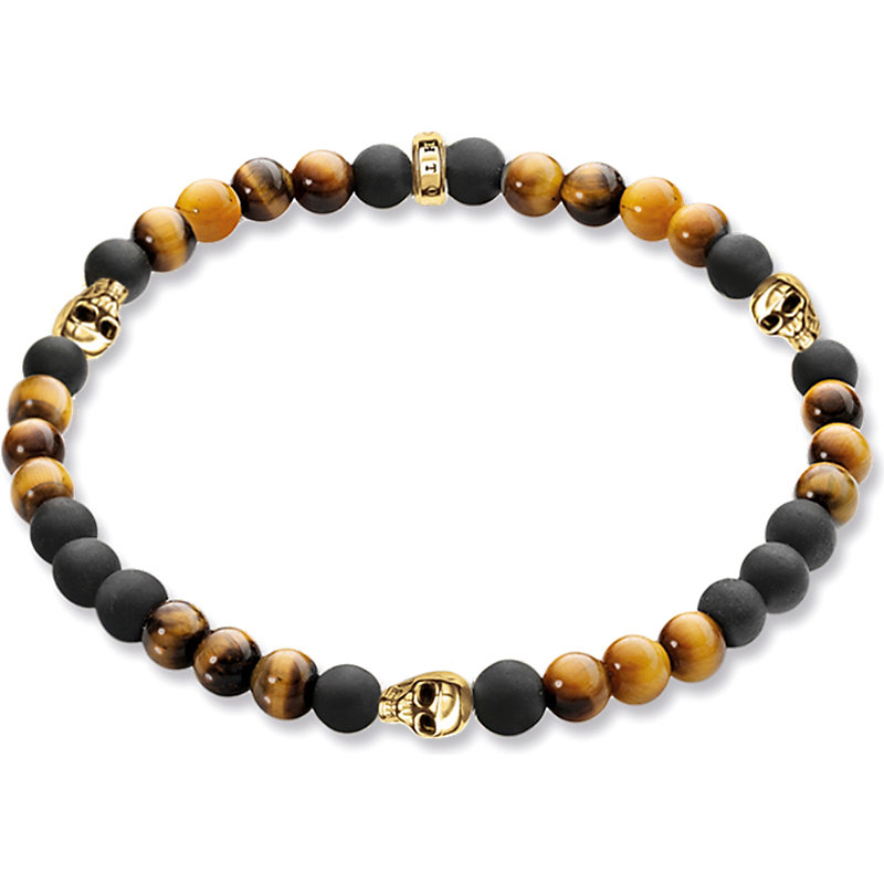THOMAS SABO | Rebel At Heart Gold-Plated, Matte Obsidian And Tiger's Eye Bracelet | Goxip