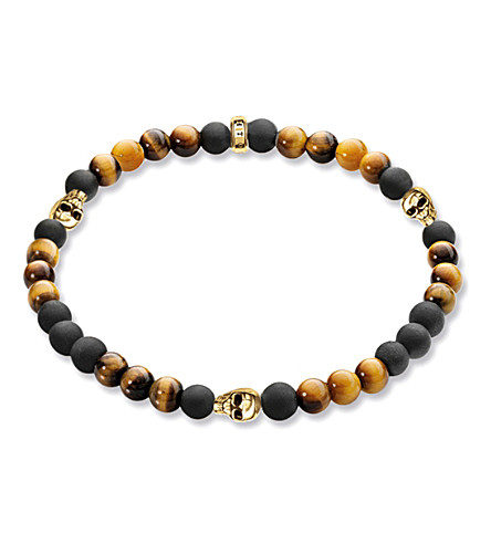 THOMAS SABO Rebel at Heart gold-plated, matte obsidian and tiger's eye bracelet