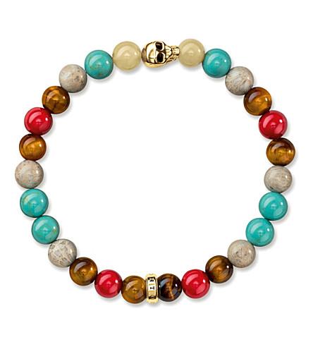 THOMAS SABO Rebel at Heart gold-plated beaded skull bracelet