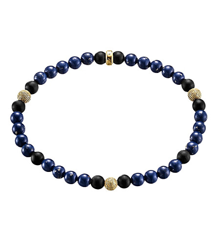 THOMAS SABO Rebel at heart gold-plated sterling silver and obsidian beaded bracelet