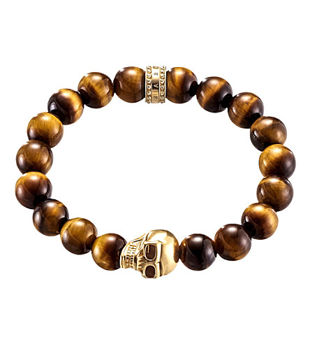 THOMAS SABO Rebel at heart gold-plated sterling silver, tiger's eye and obsidian beaded bracelet