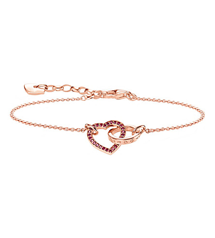 THOMAS SABO Together Forever heart sterling silver and 18ct rose gold bracelet