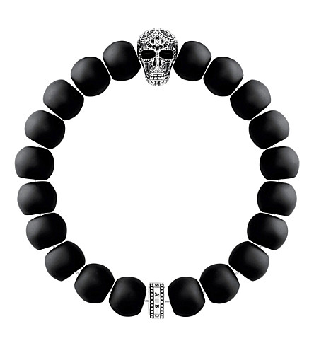 THOMAS SABO Rebel at Heart skull obsidian beaded bracelet