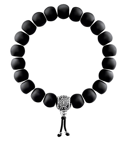 THOMAS SABO Rebel at Heart matte obsidian beaded bracelet