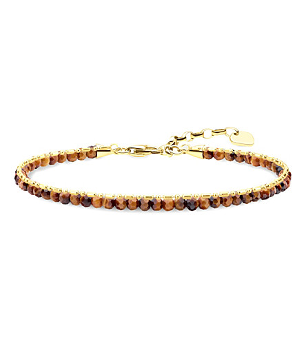 THOMAS SABO Chakra 18ct yellow gold-plated tiger's eye beaded bracelet