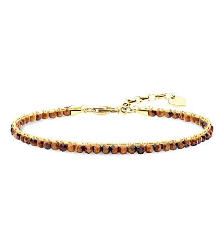 THOMAS SABO Chakra 18ct yellow gold-plated tiger's eye beaded bracelet