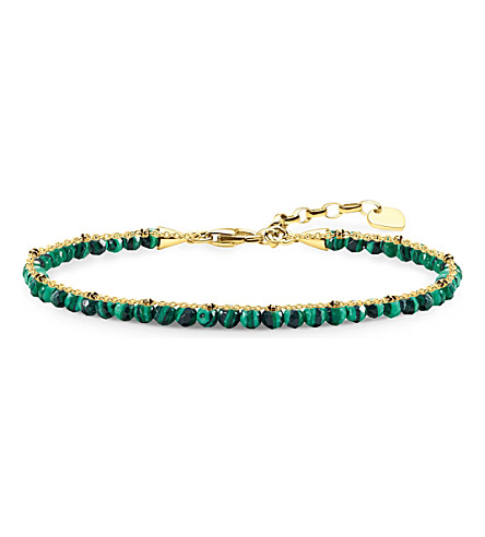 THOMAS SABO Chakra 18ct yellow gold-plated and green malachite bracelet
