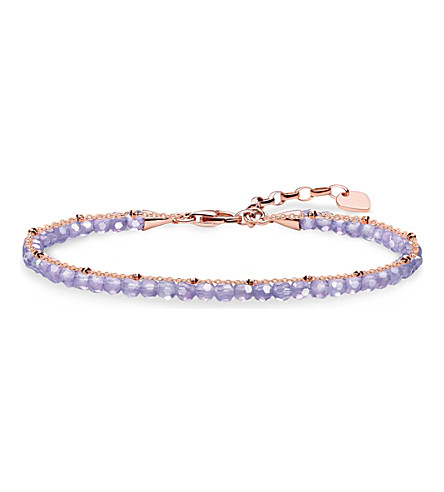 THOMAS SABO Chakra 18ct rose gold-plated and amethyst bracelet
