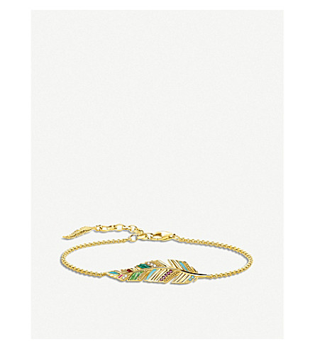 THOMAS SABO Tropical feather 18ct yellow gold-plated bracelet