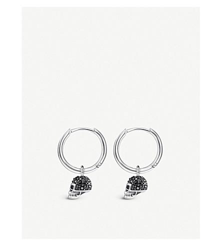 THOMAS SABO Skull mini sterling silver and zirconia hoop earrings