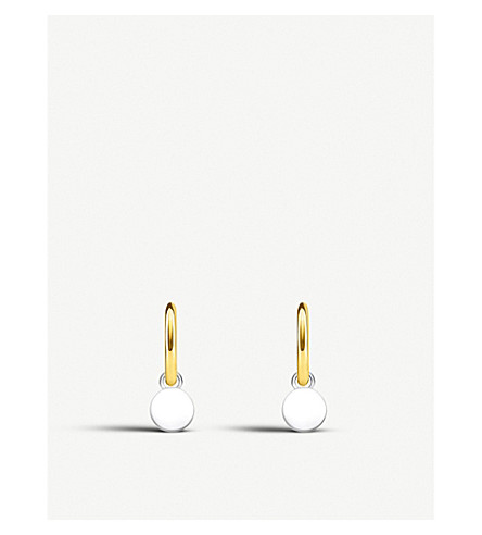 THOMAS SABO Disc mini sterling silver and 18ct yellow-gold hoop earrings