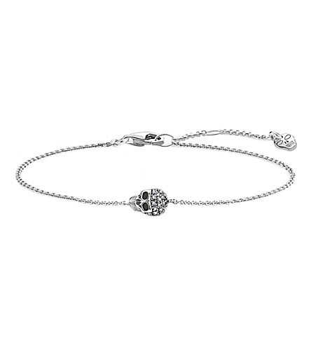 THOMAS SABO Rebel at Heart silver and diamond skull bracelet