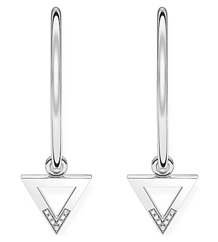 THOMAS SABO Triangle sterling silver and diamond silver hoop earrings