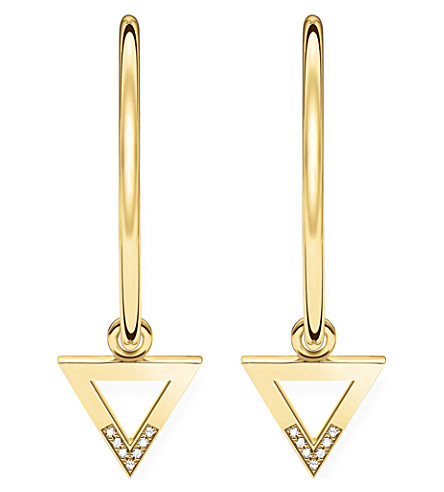 THOMAS SABO Triangle 18ct yellow gold-plated and diamond hoop earrings