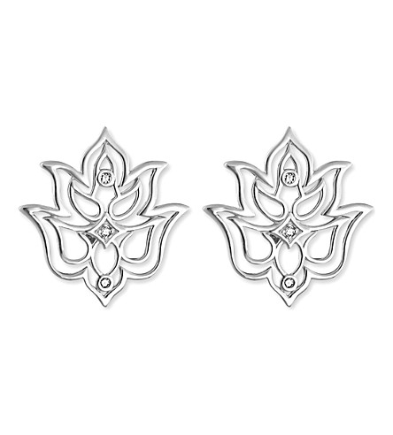 THOMAS SABO Lotus sterling silver and white diamond stud earrings