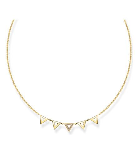 THOMAS SABO 三角形18ct 黄色镀金钻石项链