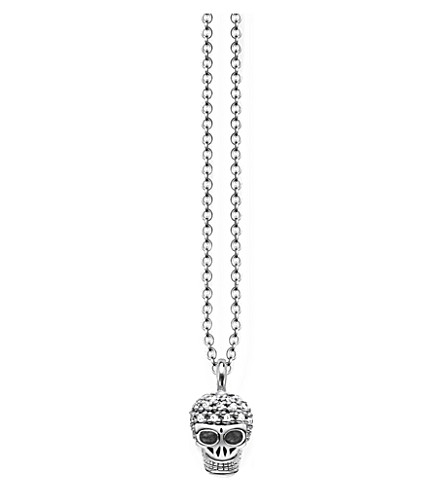 THOMAS SABO Miniature skull sterling silver and diamond stud necklace
