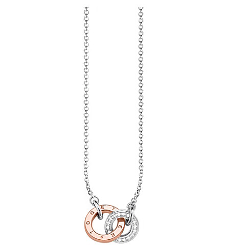 THOMAS SABO Together interlocking 9ct rose gold-plated and diamond necklace