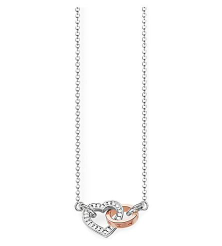 THOMAS SABO Together interlocking heart 9ct rose gold-plated and diamond necklace
