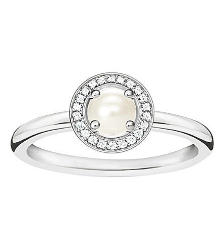 THOMAS SABO Glam & soul sterling silver, diamond and pearl ring