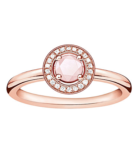THOMAS SABO Glam & Soul 18ct rose gold-plated, rose quartz and diamond ring
