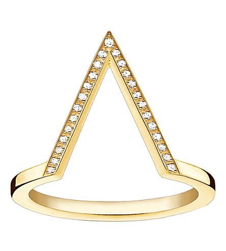 THOMAS SABO 三角形18ct 黄色镀金钻石戒指