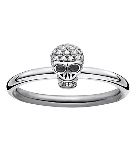 THOMAS SABO Diamond pav skull ring band