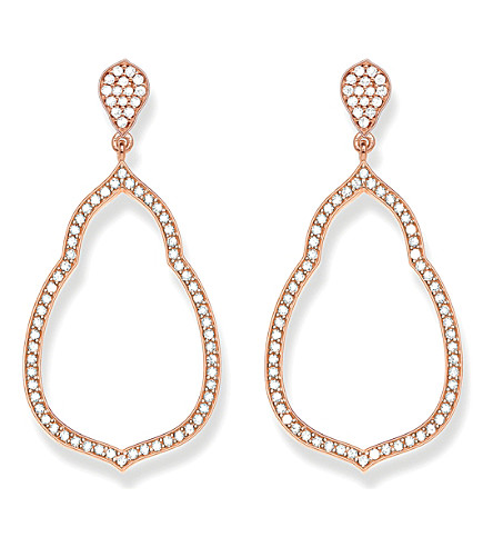 THOMAS SABO Fatima's Garden 18k-rose gold plated sterling silver and white pavé zirconia drop earrings