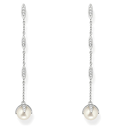 THOMAS SABO Sterling silver, white pavé zirconia and pearl drop earrings