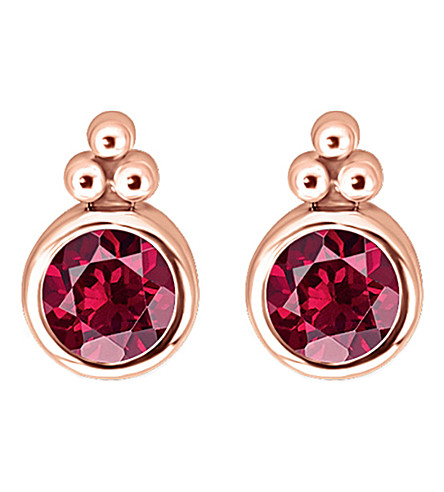 THOMAS SABO Royalty red stone 18k rose-gold plated sterling silver ear studs