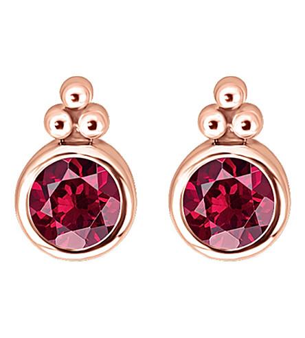 THOMAS SABO 皇室红石头 18k 玫瑰金镀纯银耳环