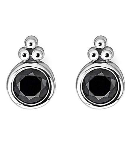 THOMAS SABO Royalty black stone sterling silver ear studs