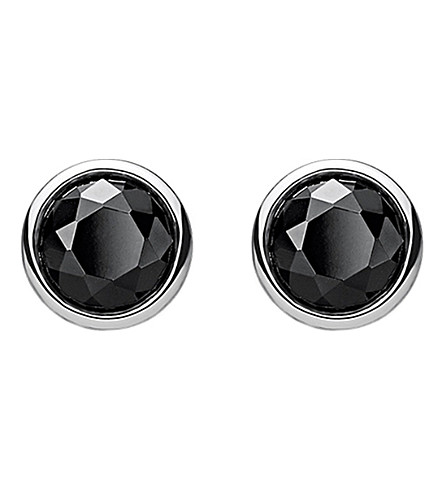 THOMAS SABO Classic black stone sterling silver ear studs