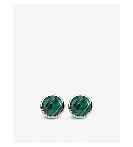 THOMAS SABO Tropical sterling silver and malachite earrings