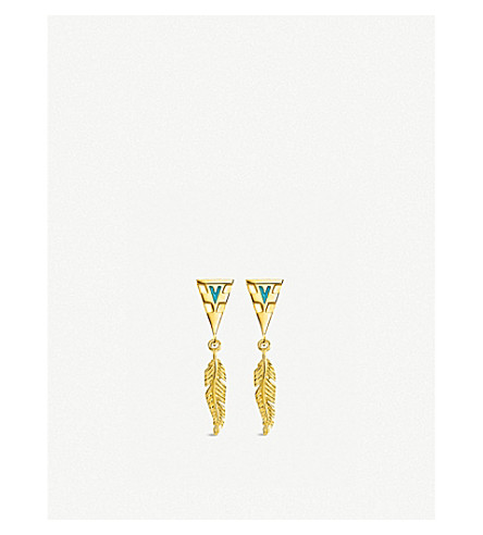 THOMAS SABO Tropical 18ct yellow-gold feather earrings