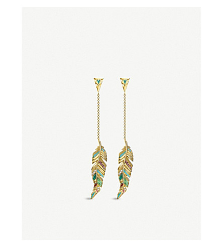THOMAS SABO Tropical 18ct yellow-gold long feather earrings