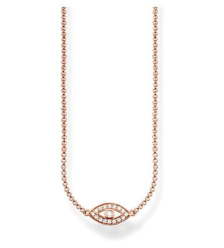 THOMAS SABO Fatima's Garden Nazar's Eye 18ct rose-gold plated sterling silver and pavé zirconia necklace