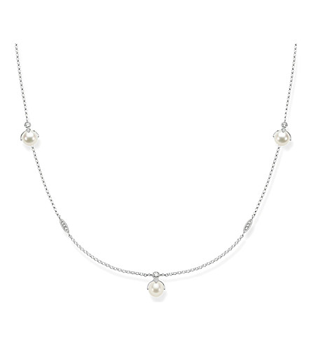 THOMAS SABO Long sterling silver, white pavé zirconia and pearl necklace