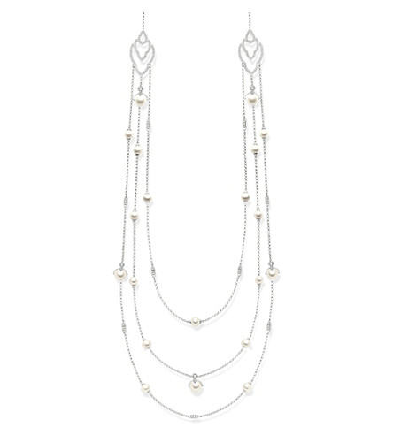 THOMAS SABO Sterling silver, white pavé zirconia and pearl multi-layered necklace