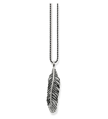 THOMAS SABO Rebel at heart sterling silver feather necklace