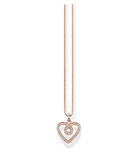 THOMAS SABO Eternity of love rose gold-plated sterling silver heart necklace