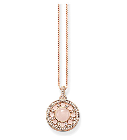 THOMAS SABO Glam & Soul rose gold-plated, zirconia-pavé and quartz necklace