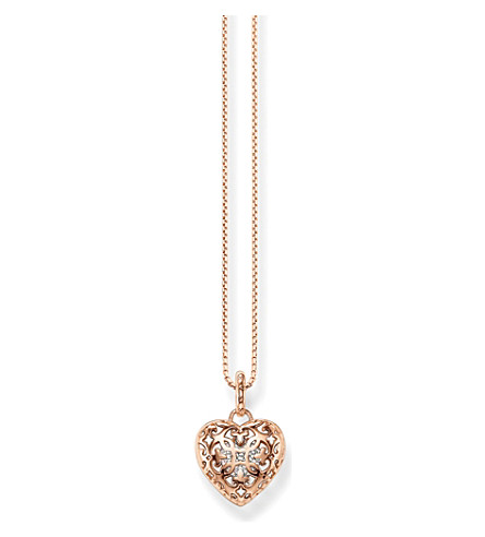 THOMAS SABO Cut-out heart locket sterling silver rose gold-plated necklace